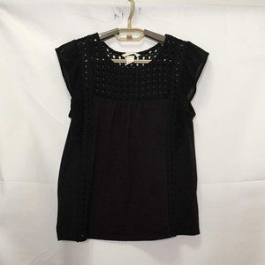 H & M Black Short Sleeve Top Size S M5